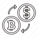 bitcoin, coin, convert, dollar icon