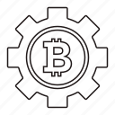 bitcoin, gear, settings, settings icon icon