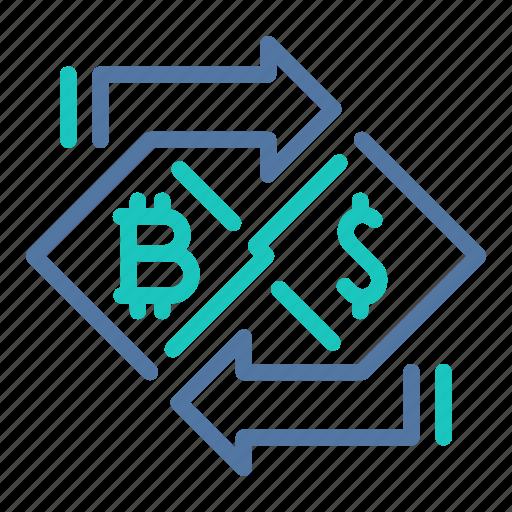 bitcoin, buying, dollar, exchange, selling, trading, transaction icon