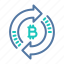 bitcoin, exchange, platform, processing, technology, transaction icon