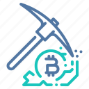 bitcoin, crypto, miner, mining, pick, processing icon