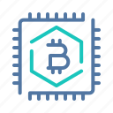bitcoin, chip, computing, hashpower, memory, processor, technology icon