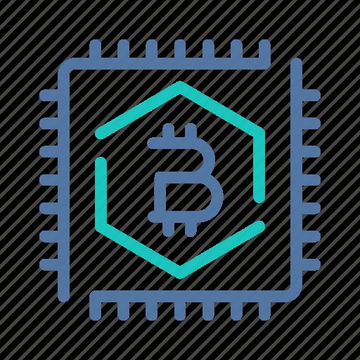 bitcoin, chip, computing, hashpower, memory, processor, technology icon