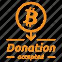 bitcoin, charity, contribute, donate, donation, give, tip icon