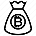 bag, bitcoin, cryptocurrency, currency, money, money bag, savings