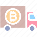 bitcoin, car, delivery service, shipping, transport, truck, vehicle