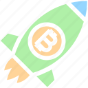 bitcoin, launch, money, rocket, space, space ship, startup