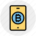 smartphone, mobile, money, bitcoin, online, interface, technology icon