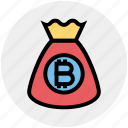 bag, bitcoin, cryptocurrency, currency, money, money bag, savings icon