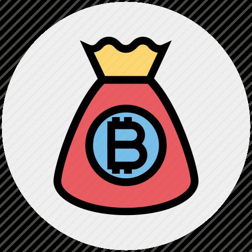bag, bitcoin, cryptocurrency, currency, money, money bag, savings icon