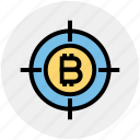 target, money, bulls-eye, bitcoin, cryptocurrency, block chain, coin icon
