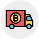 bitcoin, car, delivery service, shipping, transport, truck, vehicle icon