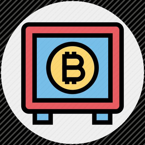 bank, bitcoin, blockchain, cryptocurrency, locker, money, safe icon