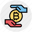 money, safe, bitcoin, hand, cryptocurrency, currency, payment icon
