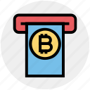 cryptocurrency transaction, bitcoin atm, bitcoin transaction, atm machine, withdrawal, internet machine, bank icon