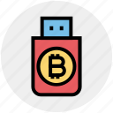 bitcoin, crypto, cryptocurrency, drive, flash, storage, usb icon