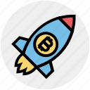 bitcoin, launch, money, rocket, space, space ship, startup icon