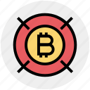 finance, money, bitcoin, cryptocurrency, block chain, coin, target icon