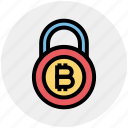 bitcoin, bitcoin lock, cryptocurrency, lock, protection, safe cryptocurrency, security icon