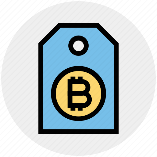 bitcoin, cryptocurrency, label, price tag, purchase, shopping, tag icon
