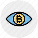 eye, finance, scan, money, bitcoin, cryptocurrency, vision icon