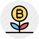 bitcoin, blockchain, cryptocurrency, growth, invest, plant, value icon
