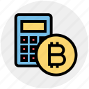 bitcoins, money, price, bitcoin, currency, transfer, calc icon