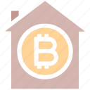 apartment, bitcoin, building, home, house, property, virtual money