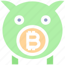 bitcoin, blockchain, cryptocurrency, digital currency, money, piggybank, savings icon