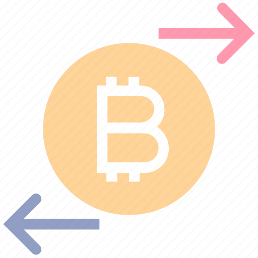 arrows, bitcoin, coin, cryptocurrency, exchange, right and left, transaction icon
