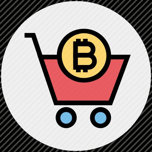 Buy, shopping, bitcoin, cart, crypto, basket, shopping cart icon