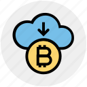 arrow, bitcoin, cloud, cloud computing, coin, cryptocurrency, down