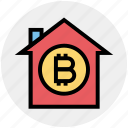 apartment, bitcoin, building, home, house, property, virtual money icon