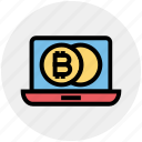 bitcoin, blockchain, coins, cryptocurrency, income, laptop, money icon