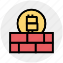 bitcoin, blockchain, brick, cryptocurrency, digital money, protect, wall icon