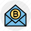 bitcoin, blockchain, cryptocurrency, digital currency, envelope, latter, mail