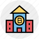 bank, bitcoin, building, business, cryptocurrency, house, money