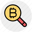 bitcoin, bitcoin icon, find, magnifier, magnifier icon, search, zoom icon