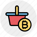 basket, bitcoin, cart, cryptocurrency, mining cart with bitcoin, shopping, shopping cart icon