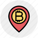 bitcoin, cryptocurrency, location, map, money, pin, pointer