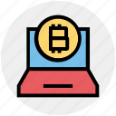 bitcoin, blockchain, coin, cryptocurrency, income, laptop, macbook icon