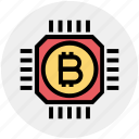 bitcoin, bitcoins, chip, cryptocurrency, currency, digital, money