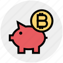 bitcoin, blockchain, cryptocurrency, digital currency, money, piggybank, savings icon
