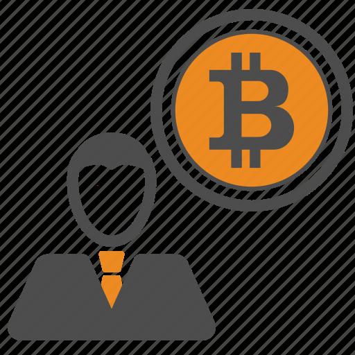 bitcoin, bitcoins, business, man icon