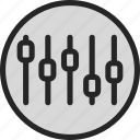 adjust, details, equilizer, options, profile, settings icon