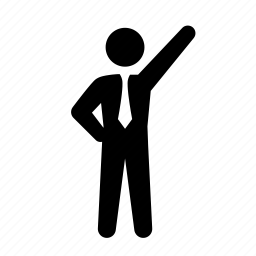 business, businessman, dress code, formal, pointing, stick figure, suit, tie icon