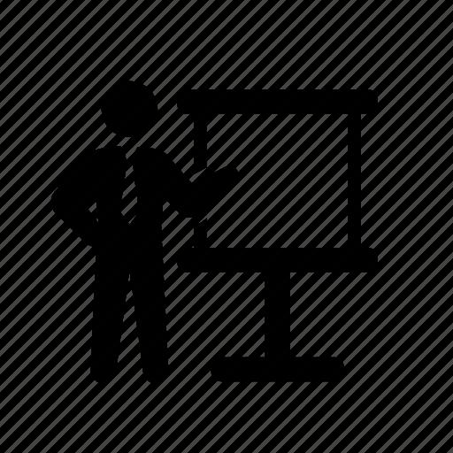 business, businessmen, chart, formal, meeting, presentation, stick figure, suit, tie icon