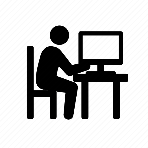 business, businessman, computer, formal, office, stick figure, suit, technology, tie, working icon