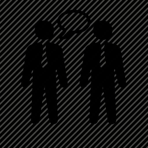 business, businessmen, communication, conversation, stick figure icon