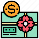 box, dollar, gift, money, voucher icon